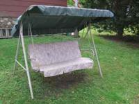 3 PERSON LAWN SWING. WILL NEED A NEW SEAT CUSSION, OR