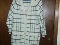 . Knee-length, freight cardigan $12 . Black natural