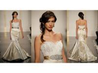 Antique silk dealt with satin trumpet bridal dress,