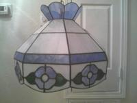 Beautiful 3 Color Leaded Heavy Stained Glass Light