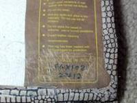 Tan Leather Area Rug w Woven Backing, Animal Print, 66