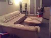 Four piece, Beige, Leather Sectional Couch. Serious