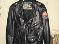 Leather Bikers Jacket With Harley Davidson Patchs SZ 40