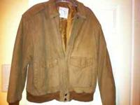 Brown leather mens bomber style jacket. Size L. If