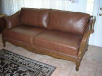 "Leather sofa/couch with wood trim. 90"" long. Perfect"