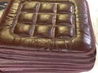 8 leather chair cushions dark brown.