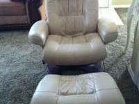 Leather Chair and Ottoman, excellent condition, still
