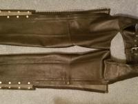 Medium River Road black leather chaps, side zippers  of