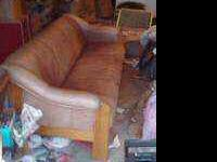 Very nice leather couch******** light med brown very