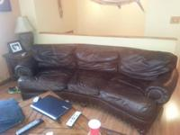 Brown Leather Couch.  Good Condition.  This is a very