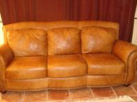 Lovely brown leather couch & & 2 chairs with tacks. -