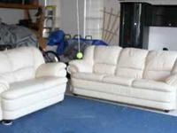LEATHER COUCH AND LOVE SEAT SET-EXCELLENT