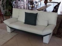 Custom made, full size Italian leather couch, chair w/