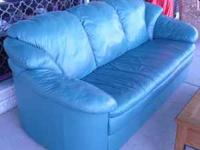 Natuzzi Leather Couch in a Greenish Blue Color,