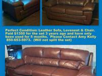 FOR SALE: Leather Overstuffed Couch, Love Seat & Chair