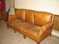 Sturdy, 5 yr old leather couch. cushions need repair or