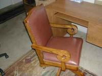 Executive Leather Office Chair, With Solid Oak Trim