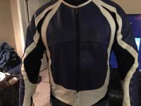Blue and white xxl leather riding jacket no rips or