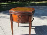 1 drawer side table, mahogany finish with a leather