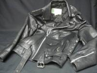 This is a size Small multi zipper leather riding jacket