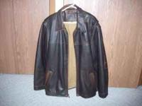 Brown Sonoma Leather Jacket for sale. The jacket is a