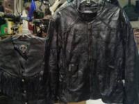 WOMENS XL LEATHER JACKET AND LEATHER VEST FOR SALE