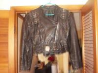 Leather Jacket w/studs zipper alot detail. size 10 $40.