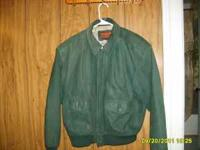 2 leather jackets for sale. One green,small, one brown,