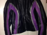 LEATHER LADIES RIDING JACKET,BLACK WITH PURPLE & SILVER