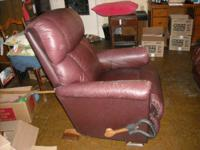 Saddle brown, Lazy-Boy leather chair and loveseat in
