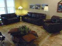 Couch, loveseat and recliner, all leather and in good