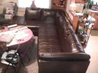 SECTIONAL BROWN LEATHER L SHAPED CHAISE LOUNGE END WITH
