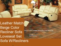 LEATHER MATCH SOFA LOVE SEAT.SOFA HAS 2 RECKLINERS LOVE