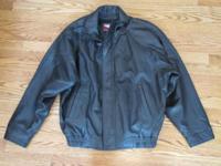 Leather Mens Bomber Jacket Size: Medium Color: BLACK