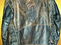 Size 48 Leather motorcycle Jacket also has zip out