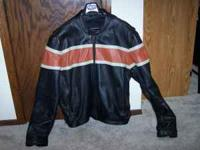 54 in (about 3XL) SKIN-TAN leather motorcycle jacket.