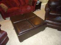 Moving must sell - Brown leather ottoman with storage.