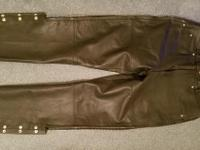 Large River Road black leather pants, side zippers  of