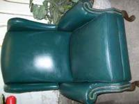 Real Leather Queen Anne style chair $50  Location: