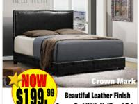 NATURAL LEATHER QUEEN BED JUST $199.99.  LEATHER QUEEN