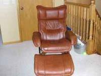 Brown leather recliner, multi-positions with matching