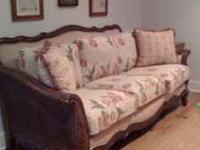 $90--Blue leather recliner Beautiful sofa with carved