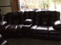 Nice dark brown leather sofa and chair for sale,