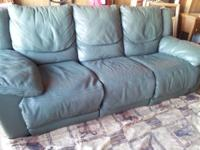 Selling dark green leather reclining couch and seat, no