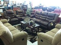 Sofa with dual recliners plus matching love with