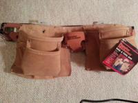 $35. NEW LEATHER TOOL BELT/NAIL & TOOL BAG. Suede split