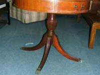 Vintage leather top round mahogany pedestal table with