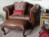 Selling lovely brown leather/wood sofa, oversized chair