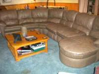 Tan, leather, sectional for sale. Asking $1,800. Like