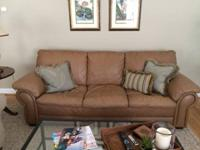 Stunning Ethan Allen Leather Sofa in Honey colored